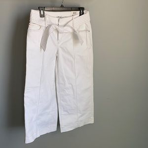 NWT! INC Ladies White Wide Leg Pants With Belt